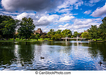 Pond in the Public Garden in Boston, Massachusetts.