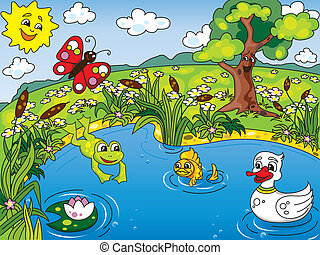 Cartoon kid's illustration of the pond life with a frog, fish, duck, butterfly and lotus