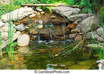 Pond - Natural stone pond as landscaping design element