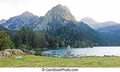 Pond of Sant Maurici, in the Aiguestortes and Sant Maurici National Park, Lleida, Catalonia, Spain