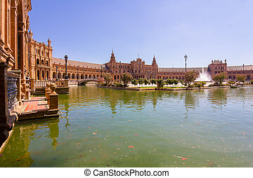 Pond of the famous Plaza of Spain in Seville, Spain