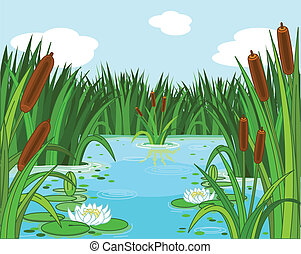 Pond scene - Illustration of a pond scene