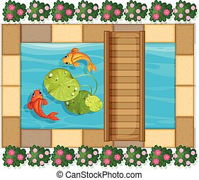 Pond scene with fish and waterlily