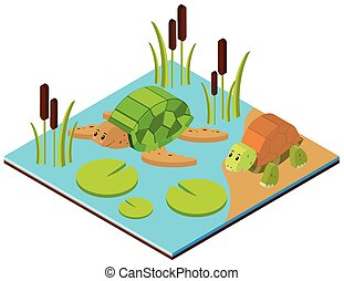 Pond scene with two turtles in 3D design