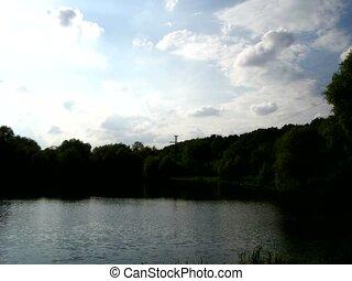 pond sky timelapse - Pond and sky, time lapse