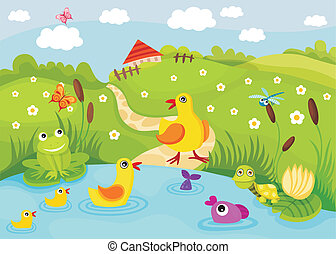 pond - vector illustration of a cute pond