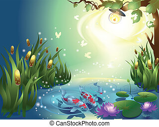 Pond with fishes at the night