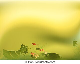 Pond with goldfish