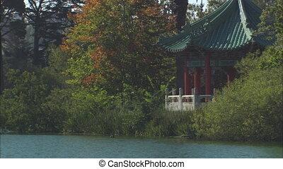 Pond With Oriental Gazebo MS - MS of Peace Pagoda on...