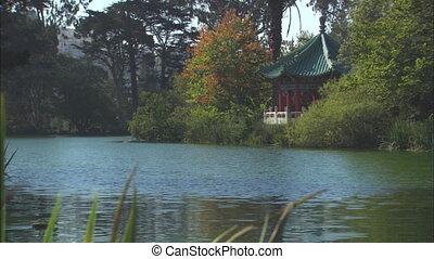 Pond With Oriental Gazebo - WS of Peace Pagoda on Strawberry...