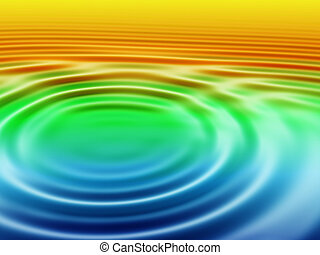 Pond with ripples - A drop makes concentric circles in water