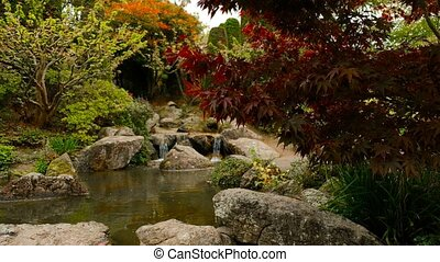 Pond with small waterfall in japan garden, focus on foreground