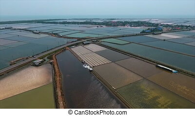 Ponds used for salt making - An aerial shot of separated...