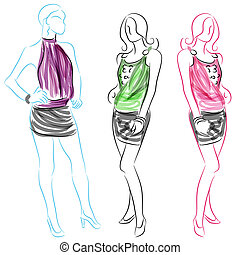 poner en cortocircuito la falda, mujeres