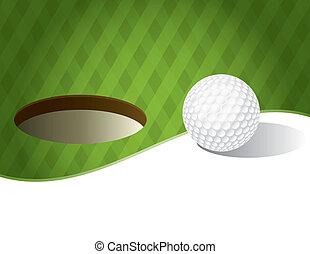 poner verde, pelota, golf, plano de fondo