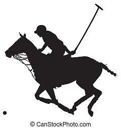 poney, silhouette, polo