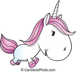 poney, unicornio, vector, lindo