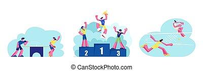 pong, actif, illustration, cup., vainqueurs, gens, mâle, caractères, vecteur, filles, grand, life., ensemble, athlètes, dessin animé, podium, jouer, médailles, femme, court., ping, sport, competition., heureux, tennis