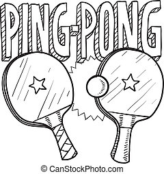 pong, ping, bosquejo, deportes