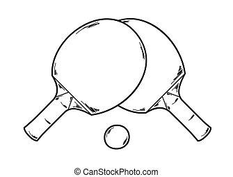 pong, ping, dos, raquetas