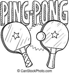 pong, ping, esboço, esportes