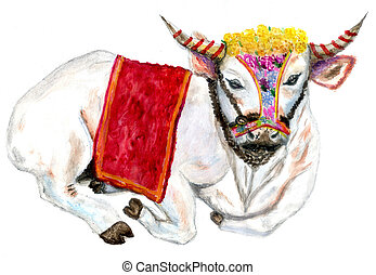 Pongal cow drawing - Hindu harvest festival, Pongal greeting...