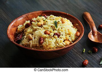 Pongal Lentil rice Indian food made with dal