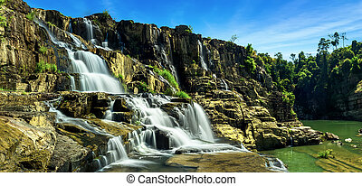 Pongour waterfall. Da Lat, Vietnam - Tropical rainforest...