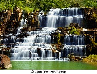 Pongour waterfall in Vietnam - Tropical rainforest landscape...