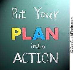 ponha, ação, seu, plano