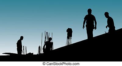 ponha, formwork, trabalhadores, construção