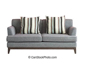 ponha, sofá, branca, isolado, fundo