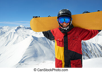 ponha, tábua, snowboarder, costas