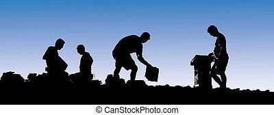 ponha, telhas, trabalhadores, construção, telhado