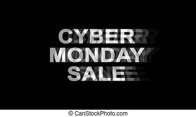 poniedziałek, telewizja, tekst, skutek, cyber, sprzedaż, glitch, ożywienie, 4k, cyfrowy, zniekształcenie, pętla