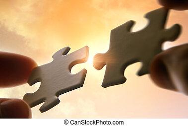poniendo, artículos del rompecabezas, juntos, en, cielo, plano de fondo, con, luz del sol