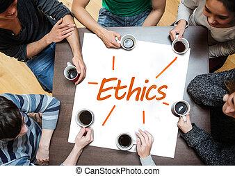 poniendo común, equipo, encima, éticas, escrito, él, cartel