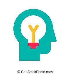 poniendo común, plano, vector, generación, idea, icono