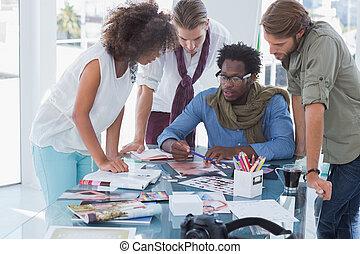 poniendo común, sesión, equipo, teniendo, editors, foto