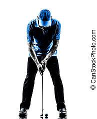 poniendo, golfista, silueta, hombre, golfing