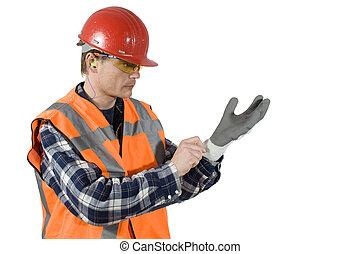 poniendo, guantes