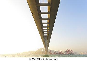 pont, à, coucher soleil