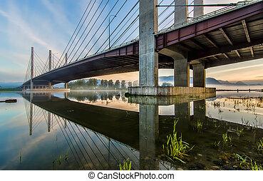 pont, à, reflet, dans, rivière
