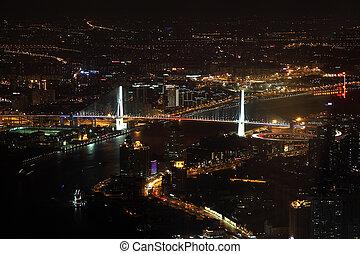 pont, éclairé, shanghai, yangpu, porcelaine, night.