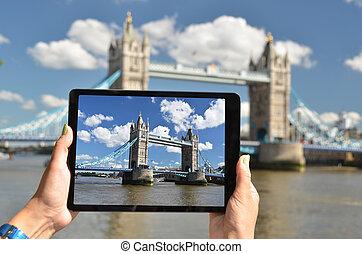 pont, écran, tour, tablette