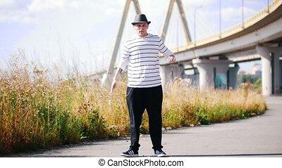 pont, été, danse, danseur, contre, t-shirt, chaud, rue, rayé...