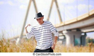 pont, été, danseur, danse, ensoleillé, jeune, contre, rue, ...