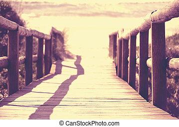 pont, été, sable, bois, perspective, mer, plage
