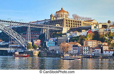 pont, être, métro, portugal, porto, ville, dom, luiz, historique, train, boîte, vu, bridge., vue