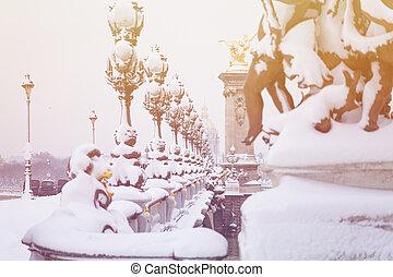 pont, 後で, パリ, 積雪量, フランス, iii, alexandre